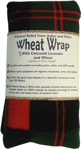 Vagabond Bags Wheat Wrap in Red and Green Check with Cotswold Lavender and Wheat (Relief Pain Migräne)