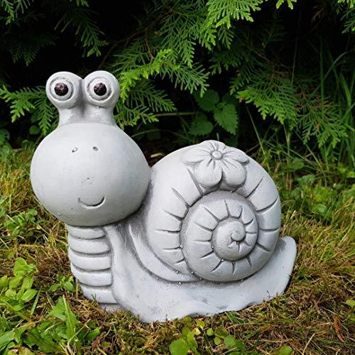 Gartenfigur niedliche Schnecke mit Blumenkleid frostfest Steinfigur Deko Garten Tierfigur
