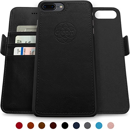 dreem Fibonacci 2-in-1 Wallet-Case for iPhone 8-Plus & 7-Plus, Magnetic Detachable Shock-Proof TPU Slim-Case, Wireless Charge, RFID Protection, 2-Way Stand, Luxury Vegan Leather, Gift-Box - Black