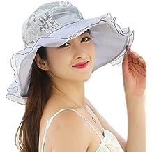 Pamelas para Bodas - Dizoe Kentucky Sombrero ala Ancha con Visera Gorra  Organza Sol de Verano 980eff132bf