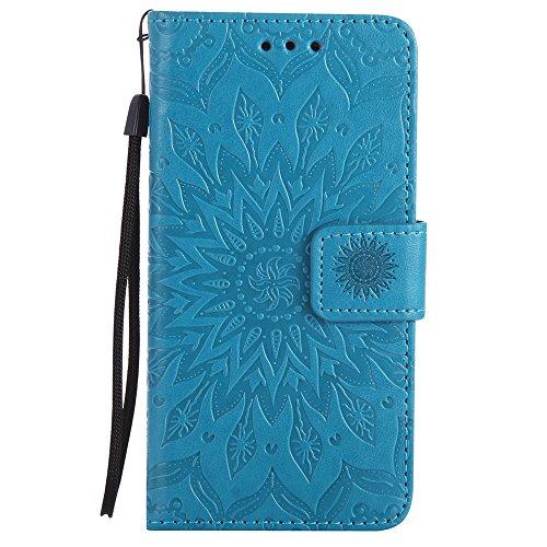 Für LG C70 Fall, Prägen Sonnenblume Magnetische Muster Premium Soft PU Leder Brieftasche Stand Case Cover mit Lanyard & Halter & Card Slots ( Color : Green ) Blue