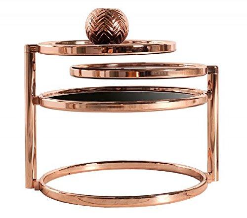 Table d'appoint en style art déco – 3 niveaux – Chromé/verre en cuivre / noir #36065