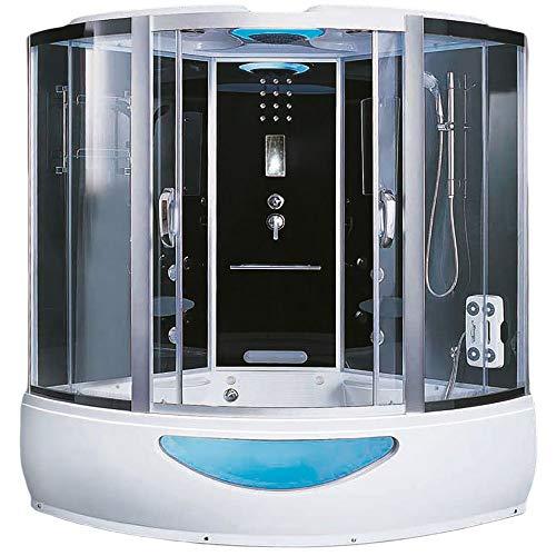 Home Deluxe - Duschtempel - Exclusive schwarz - Maße: 150 x 150 x 220 cm - inkl. Whirlpool und Dampfsauna