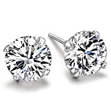 White Birch 925 Silver Stud Earrings for Womens and Mens with Sparkling White Crystal
