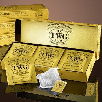 TWG Singapore - The Finest Teas of the World - JASMINE QUEEN Grüner Tee - 15 Handnaht Teebeutel aus reiner Baumwolle