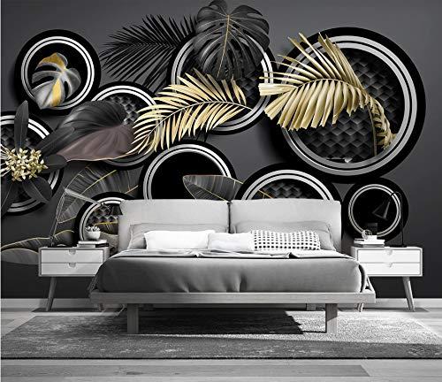 Tapeten Anpassbare Goldene Tropische Pflanzenblätter 3D Stereo Licht Luxus Hintergrund Wandmalerei Diy Seide Dekoration 450 (W) X 300 (H) Cm -
