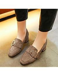 GAOLIM Gruesas Con Zapatos De Tacón Bajo Los Zapatos De Primavera Y Otoño Ponga Los Pies Calzados Femeninos Zapatos...