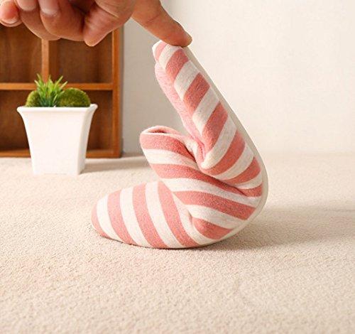 Fansela Unisexe pantoufle coton chaussons chaud silencieux anti-dérapant pantoufle hiver rayure simple respirant confortable à la maison Rosé