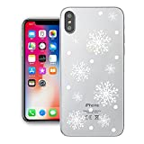 YOUDO iPhone X Hülle, Crystal Clear Soft Silikon Gummi Ultradünne Transparente Rückenschale für Apple iPhone X 5.8 Zoll (iPhone X, Schneeflocke)