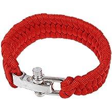 SODIAL(R) 7 Strand Supervivencia Militar pulsera de la cuerda de la armadura de la hebilla - rojo