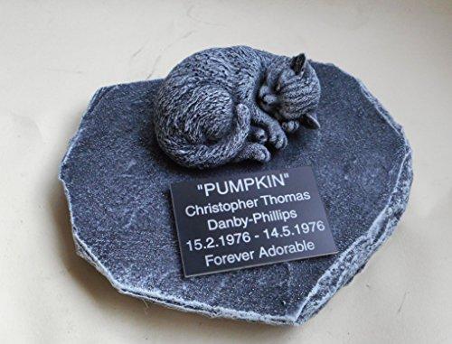 Sleeping CAT MEMORIAL PERSONALISED Rock Stone SYMPATHY PET Grave stone Bereavement