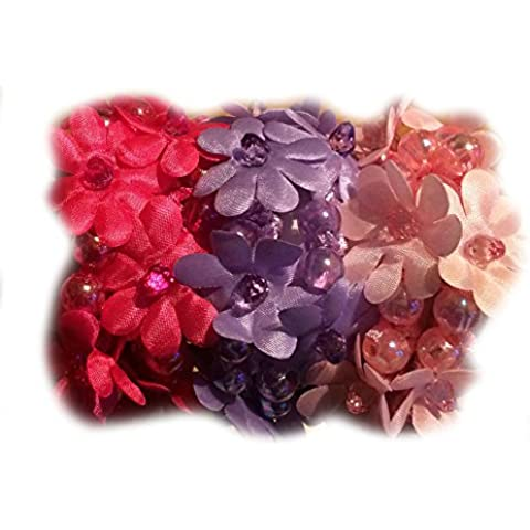 Flower & Beads Hair Scrunchies, Doubles As Wristband/Bracelet, 6-Count(Daisy - Hot Pink/Purple/Pink) by Twinklebelle