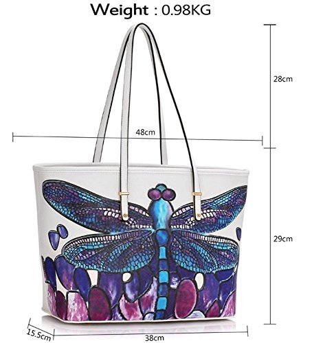 LeahWard New Groß Größe Shopper Bag Damen Schmetterling/Poppy Blumendruck/Dragonflies Print Floar Tote Taschen Handtaschen Qualität Kunstleder Schultertasche Handtasche Dragonflies-Weiß/Cream