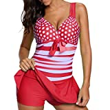 MRULIC Badeanzug Plus Size Tankini Sets Shorts Swimdress Beachwear Sommerferien(Rot,EU-44/CN-2XL)