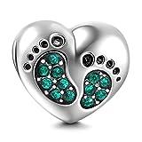 Pierre porte-bonheur en cristal en forme de cœur, portant des empreintes de pas de bébé, avec des perles en argent sterling 925.