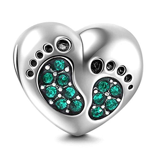 Charm in argento massiccio 925con cristallo portafortuna, charm a cuore con impronta di piede di bambino, argento, colore: green, cod. sk-01
