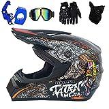 XUDONG Motorrad-Crosshelm für Erwachsene, Vollgesichts-Motocross-Cross-Crash-Helm mit...