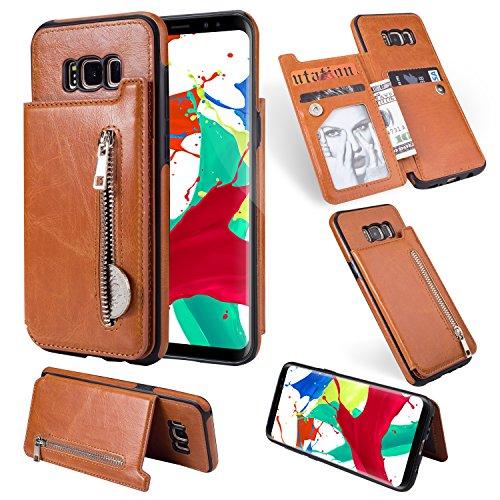 Flip Brieftasche Hülle Samsung Galaxy S8,Artfeel Samsung Galaxy S8 Leder Handyhülle mit Kredit Kartenhalter,Retro Multifunktion Reißverschluss Tasche Zurück Abdeckung mit Ständer Magnetverschluss-Brown
