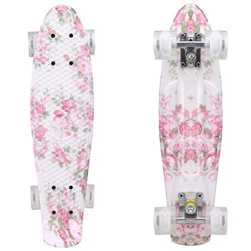 Wiped Kinder Mini Cruiser Skateboard mit LED Leuchtrollen,55cm Komplett Board mit stabilen Deck 4 PU-Rollen für Kinder, Jugendliche und Erwachsene