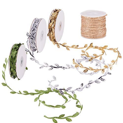 PandaHall 3 Rollen (30 Yards total) Gold & Silber & Grüne Blätter Leaf Ribbon Trim und 2 mm 10 Yards Hanfschnur Schnur für Party Hochzeit furnitureanddecor Garland Dekorationen ()