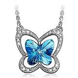 LADY COLOUR Schmetterling Kette Damen mit Kristallen von Swarovski Blau Schmuck muttertagsgeschenke Weihnachtsgeschenke geburtstagsgeschenke valentinstag geschenk geschenke fur frauen mutter freundin