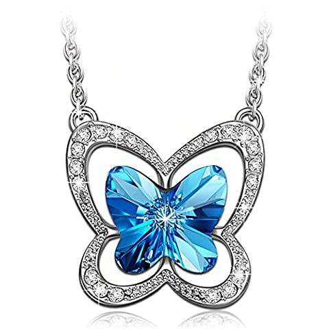 LADY COLOUR Butterfly Charm Necklace for Women with Blue Crystals from Swarovski Pendant Jewellery Birthday gifts Mothers day gifts Christmas gifts Valentines gifts for her gift for mother