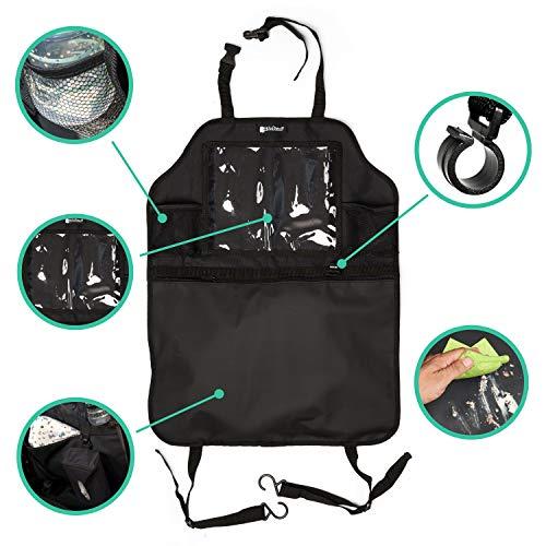 Kidspoint Rückenlehnenschutz für Kinder. Autositzschoner mit Autositz Organizer, XXL Rücksitztaschen mit Trittschutz für Vordersitz
