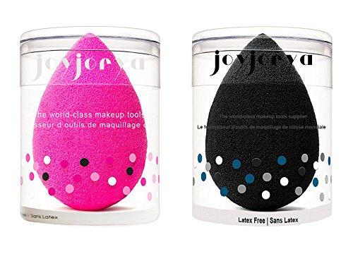Joyjorya Blender éponge de Maquillage, Fond de Teint Blush Estompeur Correcteur Yeux Visage Poudre Crème Maquillage Sponges, Sans Latex Hypoallergénique et sans Odeur (Rose et Noir)