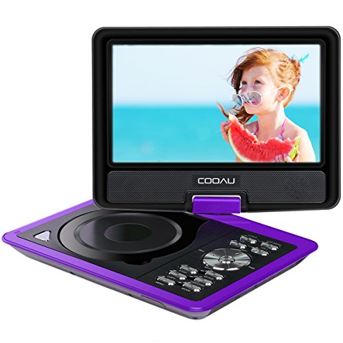 COOAU 11.5 Portable DVD Player, 5 Hours Rechargeable Battery, with 360� Swivel Screen/Remote Control/Game Joystick, Supports SD Card/USB/Sync TV, Direct Play in Formats AVI/RMVB/JPEG/MP3, Purple