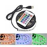 LEDMOMO LED-Streifen, USB-LED-Streifen TV-Hintergrundbeleuchtung mit Fernbedienung Multi Color Wasserdichte Beleuchtung für Indoor Club Party Dekoration 5V 2M