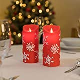 2 Red Christmas Snowflake LED Real Wax Candles, Flickering Flameless Xmas Battery Candle Table Lights (Warm White)