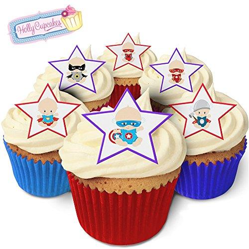 12 essbare Sterne-Kuchendekorationen im Superhelden Baby design, plus 12 frei kleinerensterne! / Superhero Babies