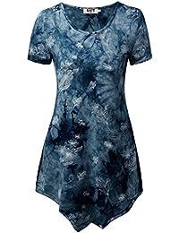 DJT Femmes T-shirt Manches courtes Tunique Hauts Tie-dye
