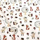 Stoff Meterware Baumwolle Jersey weiß Fuchs Igel Eichhörnchen REH Kleiderstoff Dekostoff