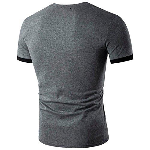Rcool Männer Sommer Sport Spleißen V-Ausschnitt Pullover V-Ausschnitt Kurzarm T-Shirt Dunkelgrau