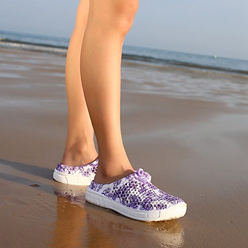 Damen Clog, Nasonberg Damen Leichte Komfortabel Pantoletten Beach Mesh Sommer Slipper Schuh Porzellan Lila