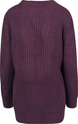Urban Classics Damen Pullover Ladies Basic Crew Sweater Rot (Cherry 1151)