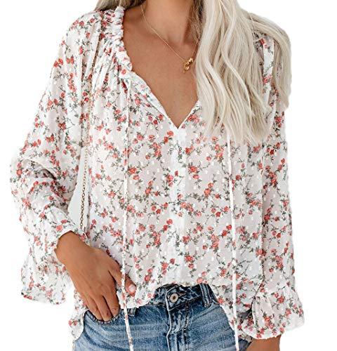 EnergyWomen Flower Pattern Long Sleeve Classic V Neck T Shirts Blouse White XL -