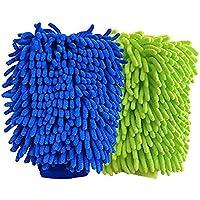 FITMATE BlueCare Automotive Premium XL - Manopla de limpieza para coche (2 unidades), paño de pulido, alta densidad, ultra suave, guante de microfibra, sin pelusas, sin arañazos, uso en seco o mojado