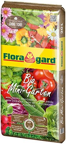 Floragard Bio Mini-Garten ohne Torf 20 L • Anzucht verschiedenster Gemüse-, Blüh- und Zierpflanzen • für Balkon, Terrasse oder Gewächshaus • torffrei • gebrauchsfertige Bio-Erde • Growbag