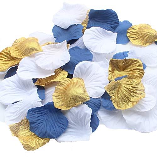 900 stück gemischte Königsblau Gold Weiß Seide Hochzeit Blume Rose Party Centerpieces Hochzeit Konfetti Tabelle Scatter Taufe Baby Boy Dusche Dekoration gefallen