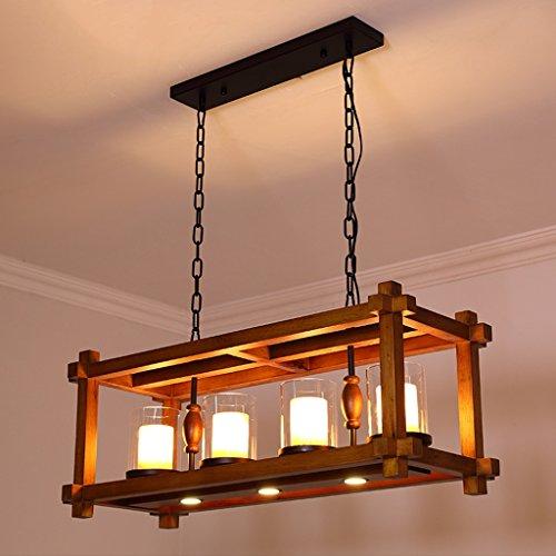 AMOS Rechteckige Kronleuchter Moderne chinesische Stil Massivholz Esszimmer Kronleuchter einfache Stil Marmor Lampe ländlichen Garten Holz Wohnzimmer Beleuchtung -