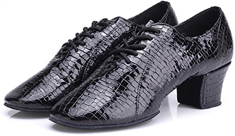 Hutt Zapatillas de Baile Mujer Cuero Adulto Tamaño 22.0cm-25.5cm Altura 3cm Negro Suave Zapatos Latinos (tamaño...