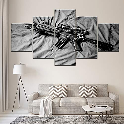 Foagge Moderne Wandkunst Bild 5 Stücke Machine Gun Malerei Wohnkultur Öl Leinwand Dekor Für Schlafzimmer Submachinegun Malerei -
