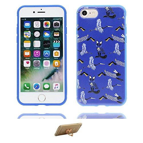 iPhone 7 Plus Custodia, Design morbido mobile Case iPhone 7 Plus copertura Cover e ring supporto Shell Graffi Resistenti - 3D Girasole giallo blu