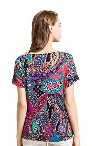 Tulpen Damen Seide Kurzarm T-Shirt Unterhemd Stoffdruck Oberteil Knit Fabric Ry