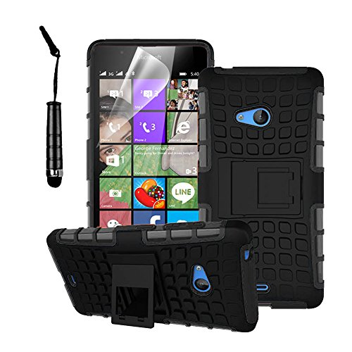 Microsoft Lumia 540 - Stylish Heavy Duty Hard Back Armor Shock Proof Case Cover with Back Stand Feature & Free Screen Protector by Accessories Collection