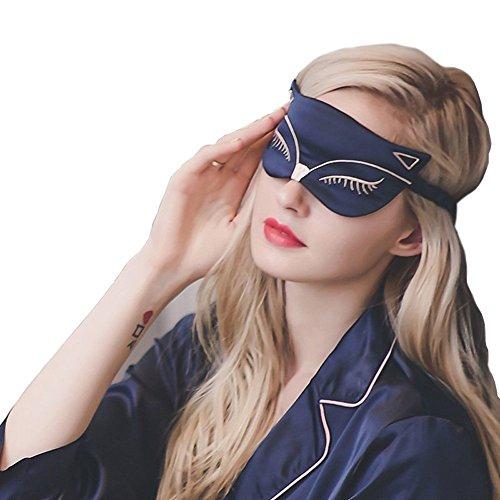ye Maske, 100% Seide Ultra-Soft Einstellbare Nachtmaske Fox Pattern Augenmaske Schlafmaske Opak Entspannung Maske Cache Augen zum Schlafen für die Reise ()