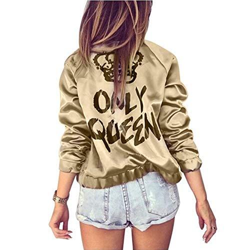 uen Bomberjacke Frauen Mantel Crown Queen Print Langarm Reißverschluss Top Coat Biker Beiläufige Kurze Outwear Gold, S ()