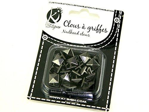 13 mm pyramide en métal Nailhead griffes/clous Fashion (brillantes) - Gris acier